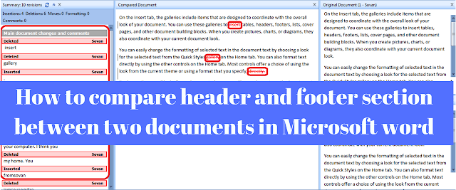 How to compare header and footer section between two documents in Microsoft word