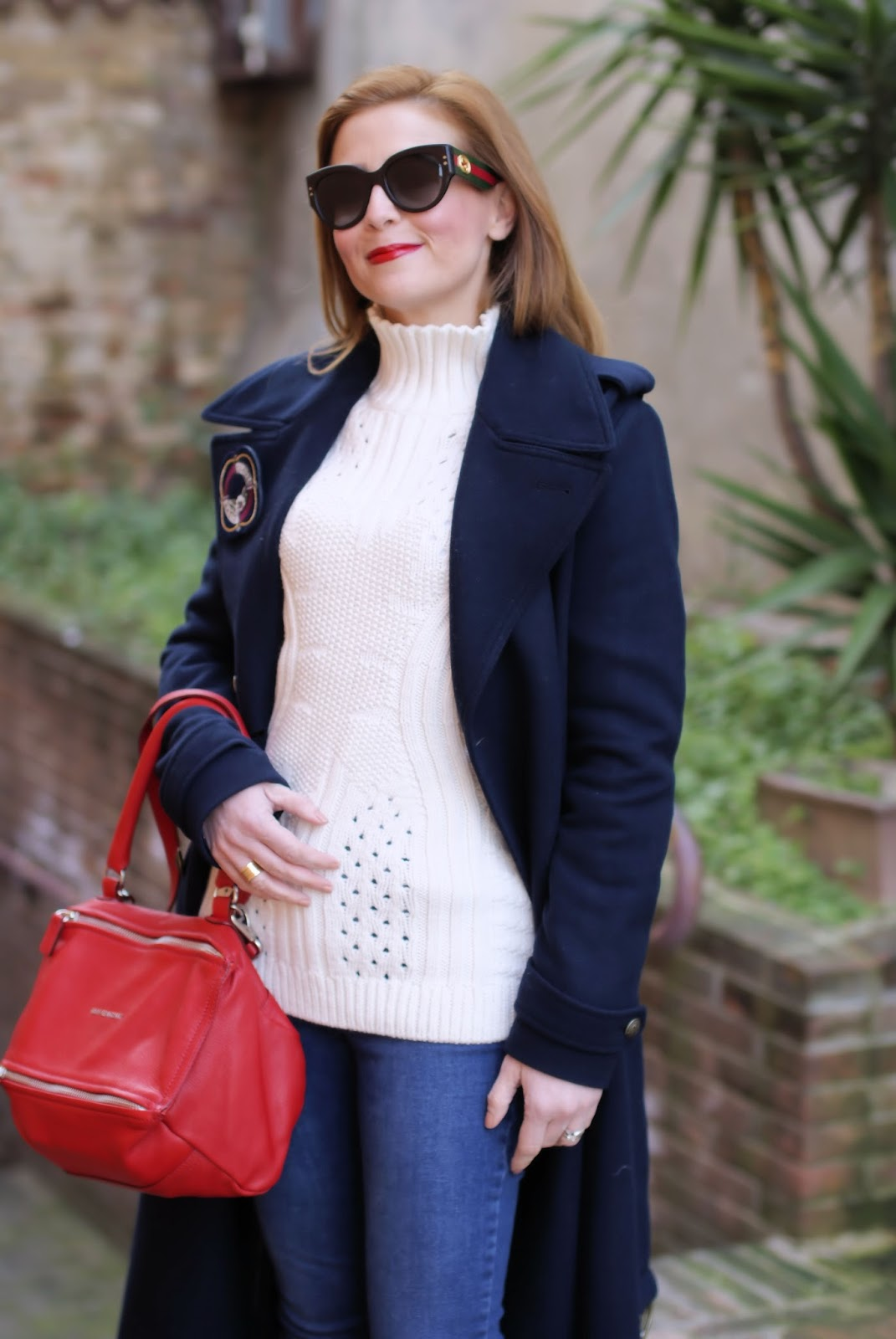Navy style fashion outfit with Tommy Hilfilger tommyxgigi coat on Fashion and Cookies fashion blog, fashion blogger style
