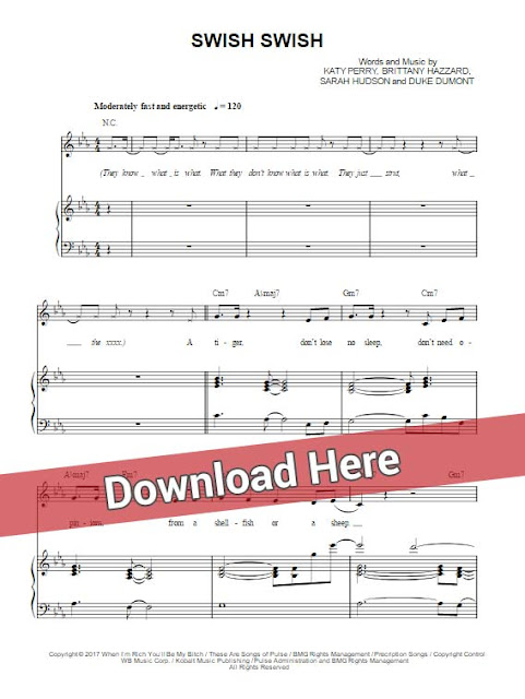 katy perry, swish swish, nicki minaj, sheet music, piano notes, chords, download, keyboard, klavier noten, partition, composition