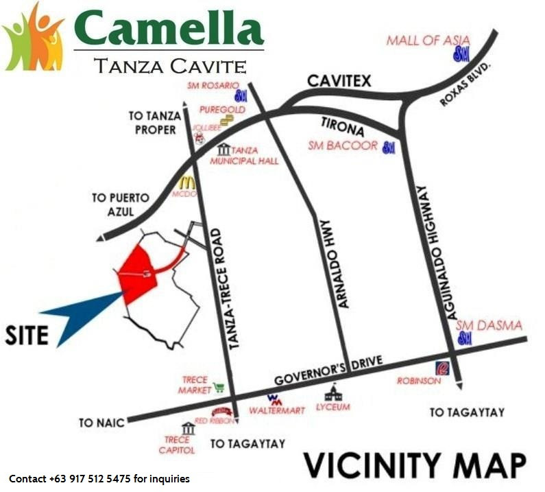 Vicinity Map Location Cara - Camella Tanza | Crown Asia Prime House for Sale Tanza Cavite