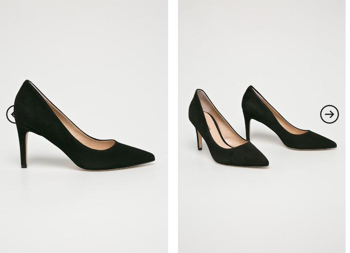 Solo Femme - Pantofi cu toc mic din piele naturala inatorsa negri