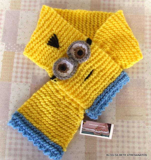 Blog da Bete Artesanatos  Cachecol Infantil Minions c1281e5d78b