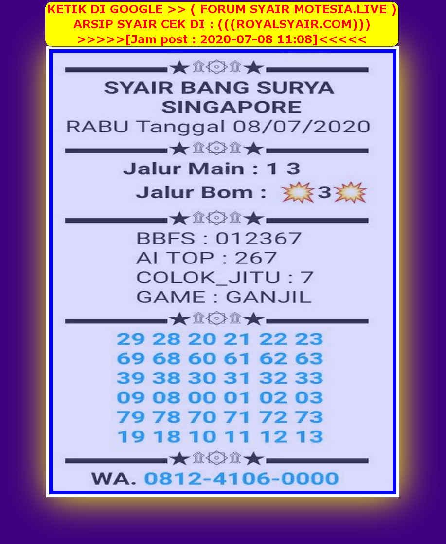 Kode syair Singapore Rabu 8 Juli 2020 30
