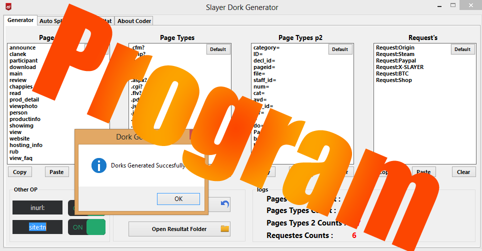 Dork Generator By X-SLAYER - FULL CRYPTERS