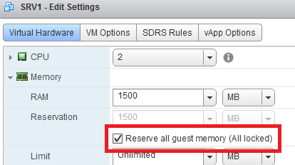 VSphere Web Client: Reserva RAM