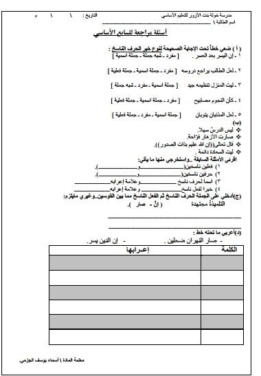 اسئلة مراجعة للصف السابع في اللغة العربية الفصل الدراسي الاول 2018-2019