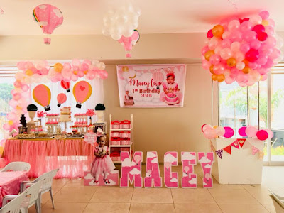 Pink hot air balloon birthday party