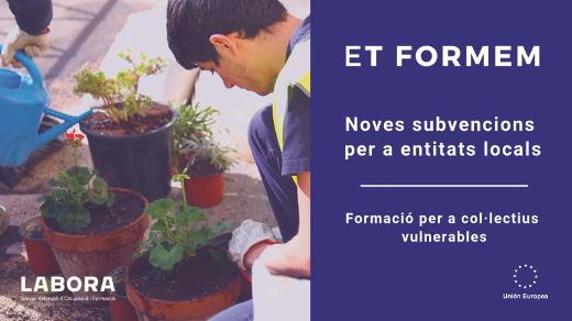 Labora convoca 4,6 millones de euros en ayudas para la realización de 'Escuelas de Empleo Et Formem' destinadas a colectivos vulnerables