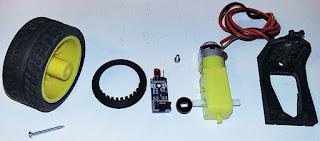Las diferentes partes que conforman el conjunto encoder/motor