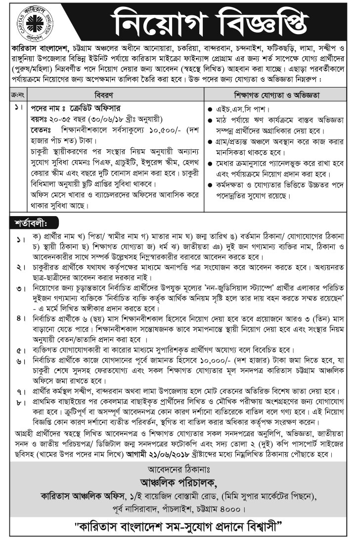 Caritas Credit Officer Job Circular 2018