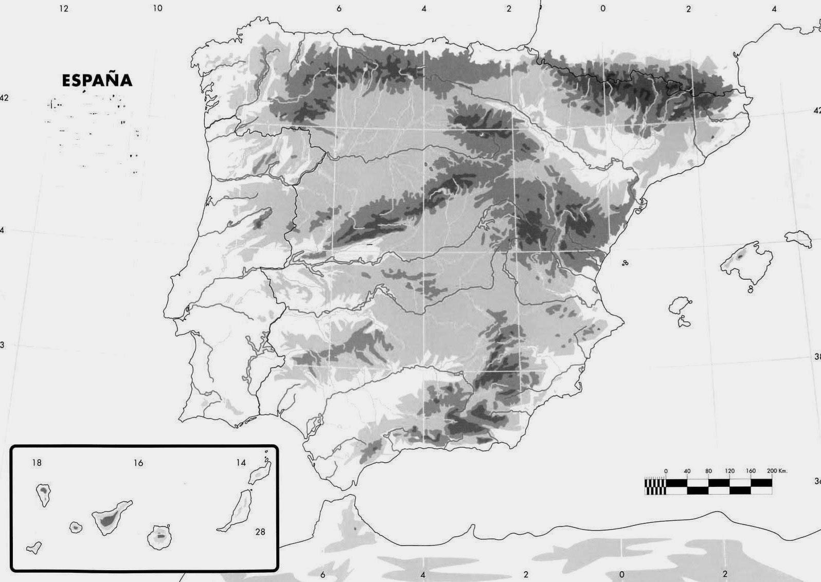 Mapa Mudo De Espana En Relieve