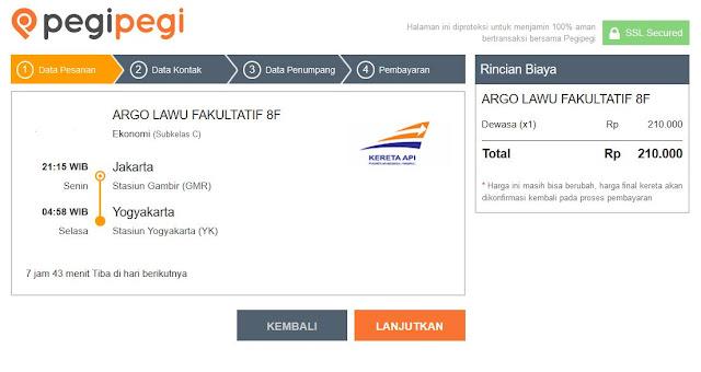 Pesan tiket kereta api di pegipegi (3). Source: jurnaland.com