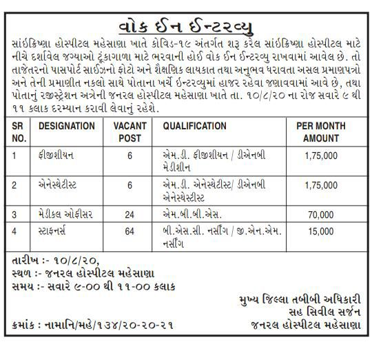 General Hospital Mehsana Recruitment for100 Physician, Anesthetist, Medical Officer & Staff Nurse Posts Bharti 2020.