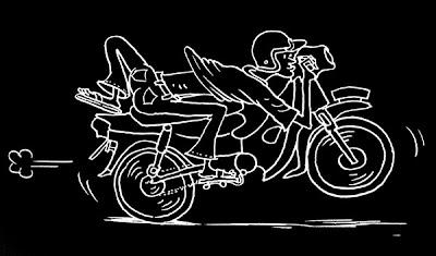 Ilustrasi motor ngebut