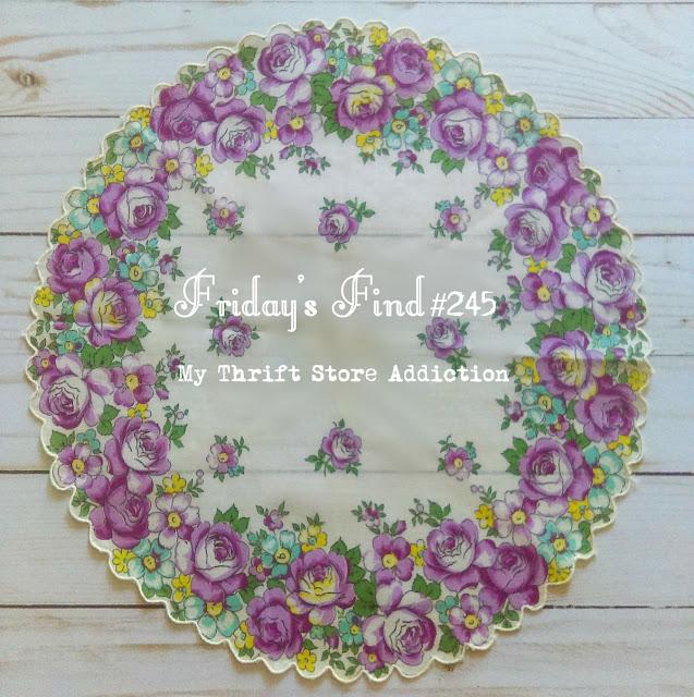 vintage round floral hankie