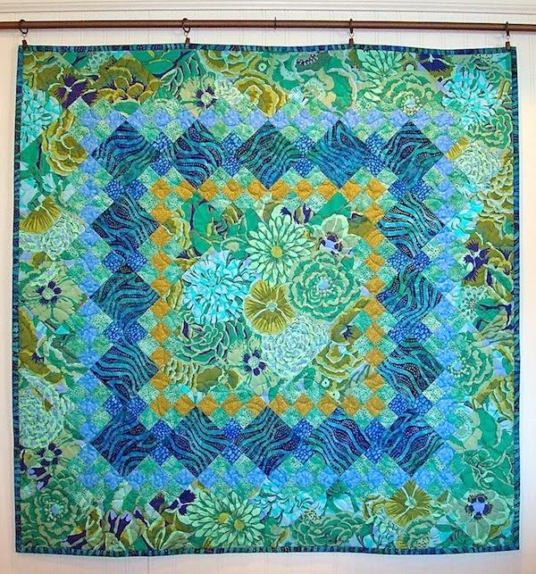 Kaffe Fassett nine patch quilt, Kaffe Fassett, Springleaf Studios, aqua, color inspiration,