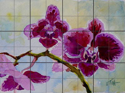 Magenta orchids, small acrylic painting in watercolor style.