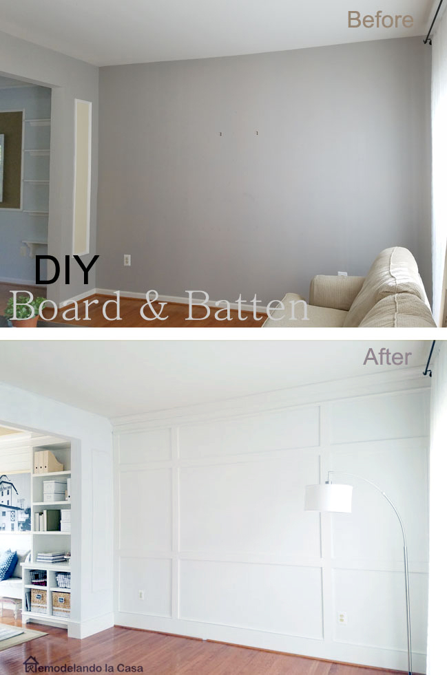 living room wall with board and batten and peek of the dining room