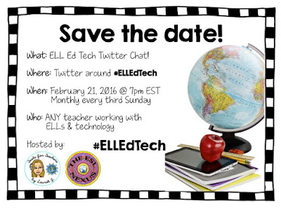 First Twitter chat on 2/21/16 #ELLEdTech | The ESL Connection