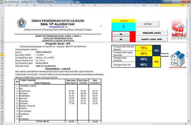 Aplikasi SKHU 2016 Terbaru Format Microsoft Excel