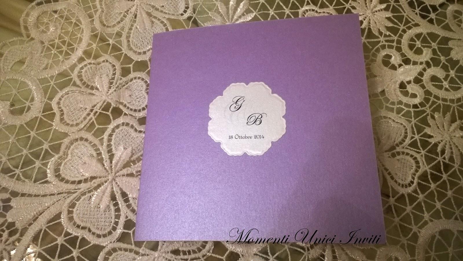 1 Partecipazione con angolo in pizzoColore Lilla Colore Viola Partecipazioni Pizzo