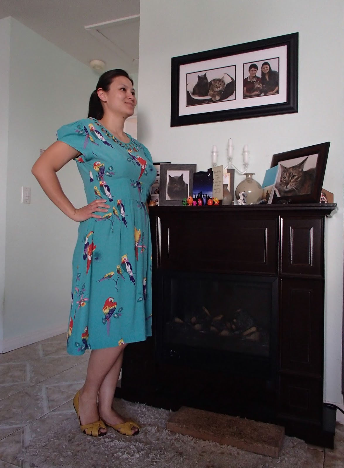 92faf39193 Trashy Diva Lupe Dress in Turquoise Birds- Side View