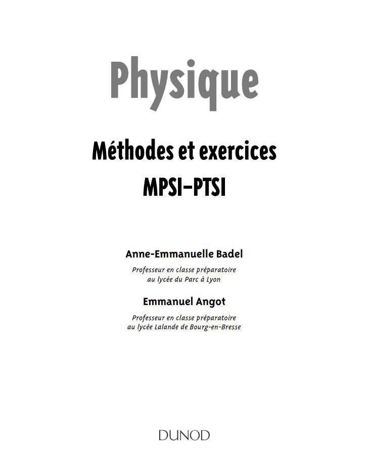 prépas et écoles d'ingenieur: methodes et exercices physique