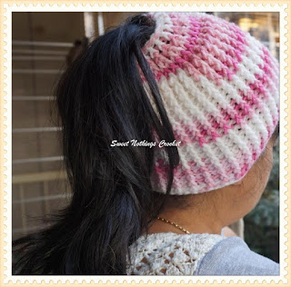 crochet headwear, crochet messy bun cap