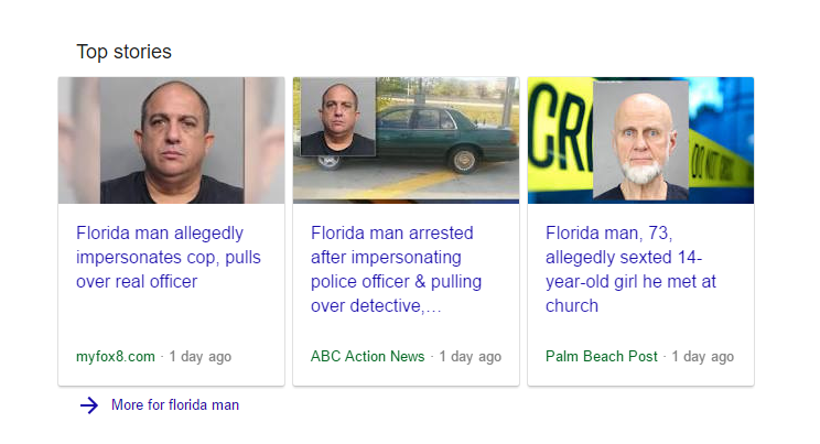 Image of top stories from Florida Man
