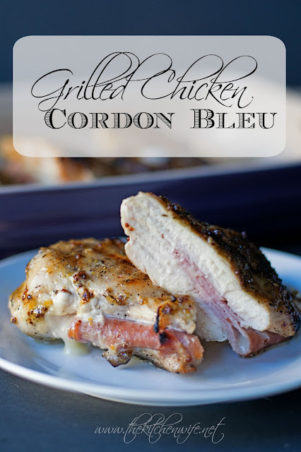 The grilled chicken cordon bleu, on a plate, cut in half, with the title above it.