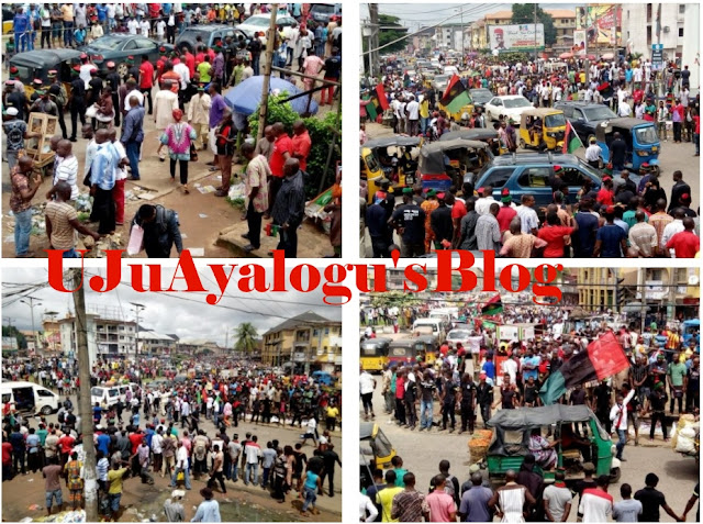 "Owerri on Lockdown as Thousands of Ipob Members Await the ""Messiah"" Kanu (PHOTOS)"