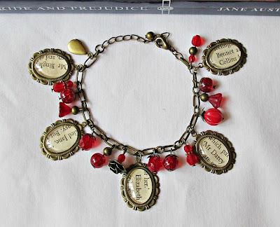 two cheeky monkeys red pride and prejudice charm bracelet jane austen