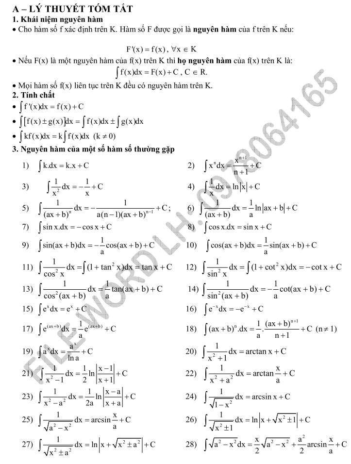 157 câu trắc nghiệm giải bằng áp dụng bảng nguyên hàm và phân tích