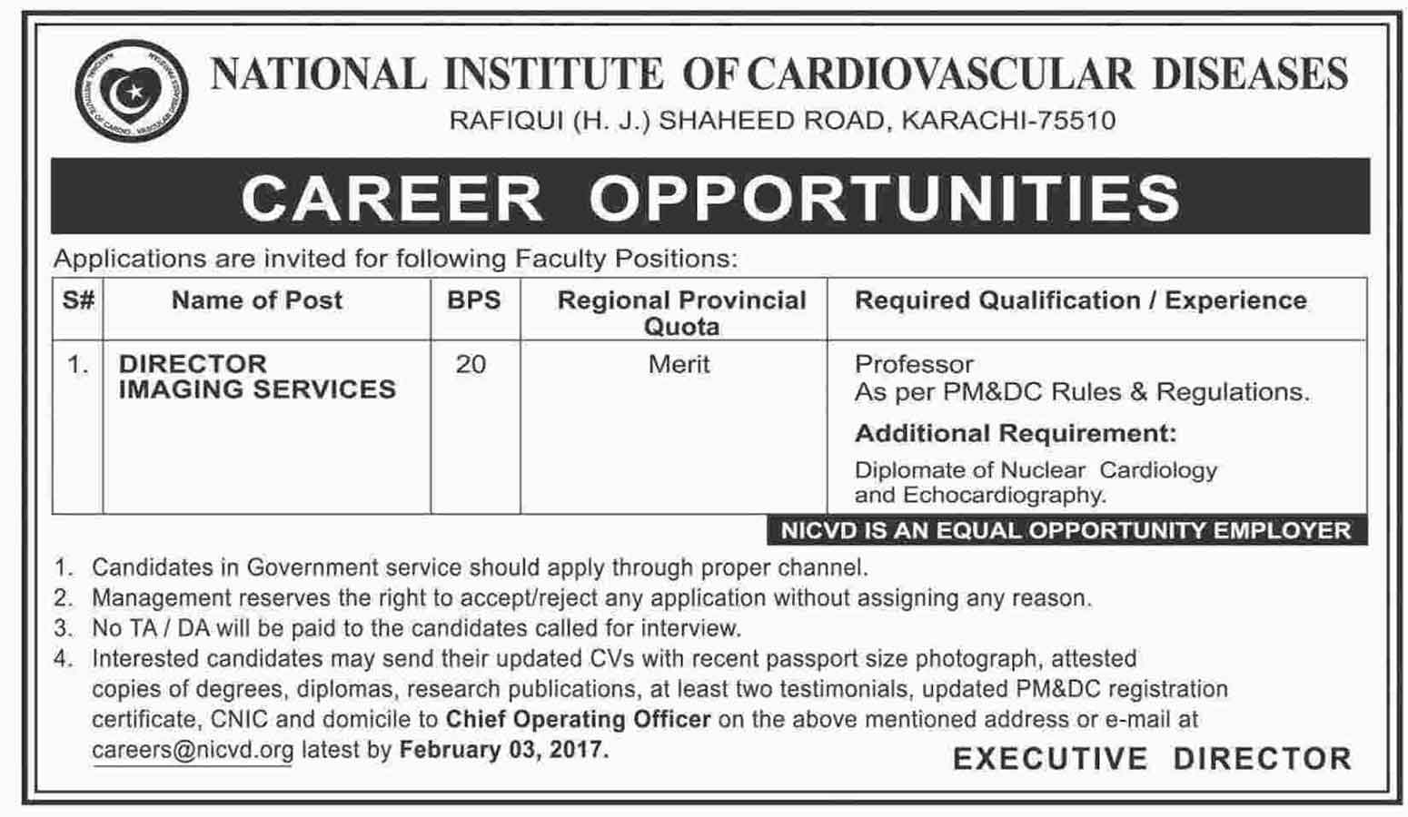 National Institute Of Cardiovascular Diseases Nicvd Jobs 2017