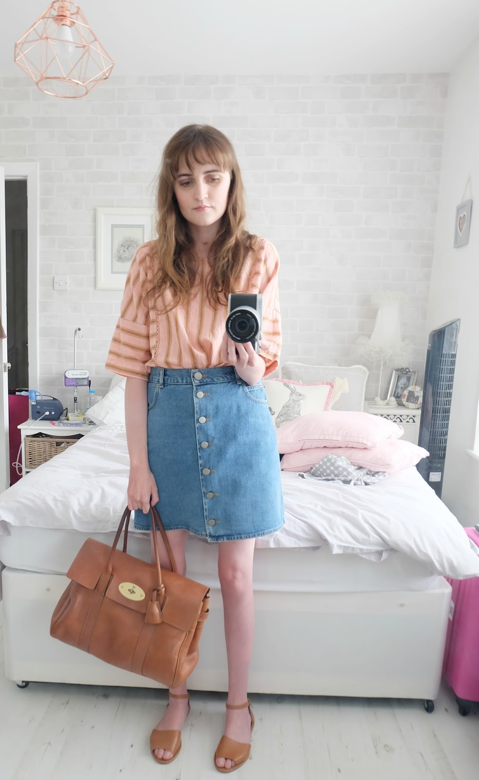 topshop stripe mix n match tee, aos denim dolly button through skirt, mulberry bayswater bag outfit, cystic fibrosis transplant blog uk, uk fashion blog, sick chick chic blog