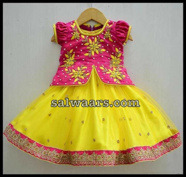 Yellow Thread Work heavy Kids Lehenga