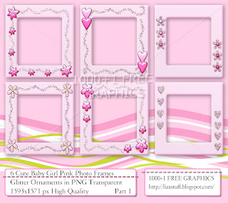 6 Cute Baby Girl Pink Photo Frames - Glitter Ornaments -in PNG Transparent 1593 x 1571 px High Quality, Cliparts, Digital Art, Frames, Graphic Design