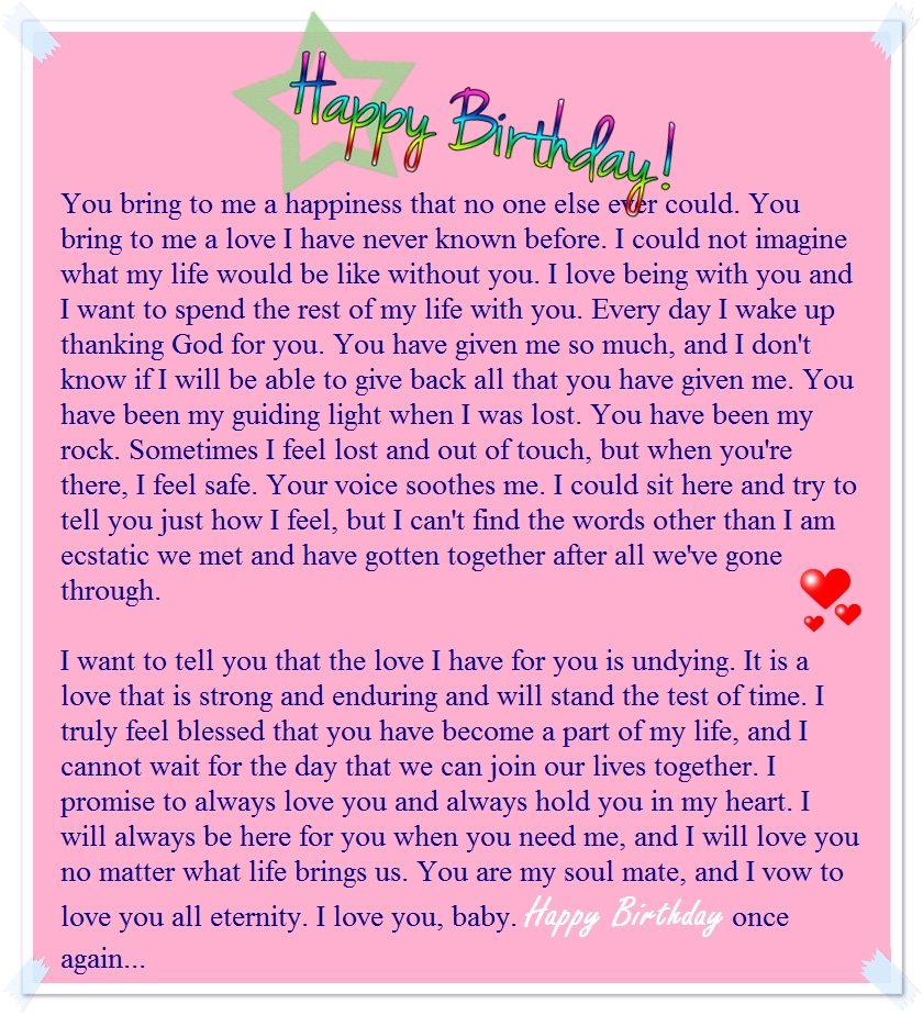 A Sweet Happy Birthday Letter to My Boyfriend