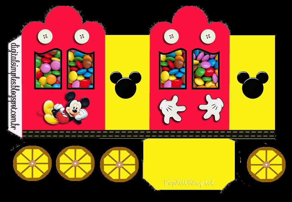 Mickey Amarillo y Rojo: Caja con forma de Carruaje para Imprimir Gratis.