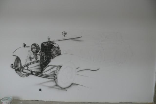 Malowanie Graffiti 3D, mural ścienny w pokoju młodzieżowym, malowanie starego samochodu