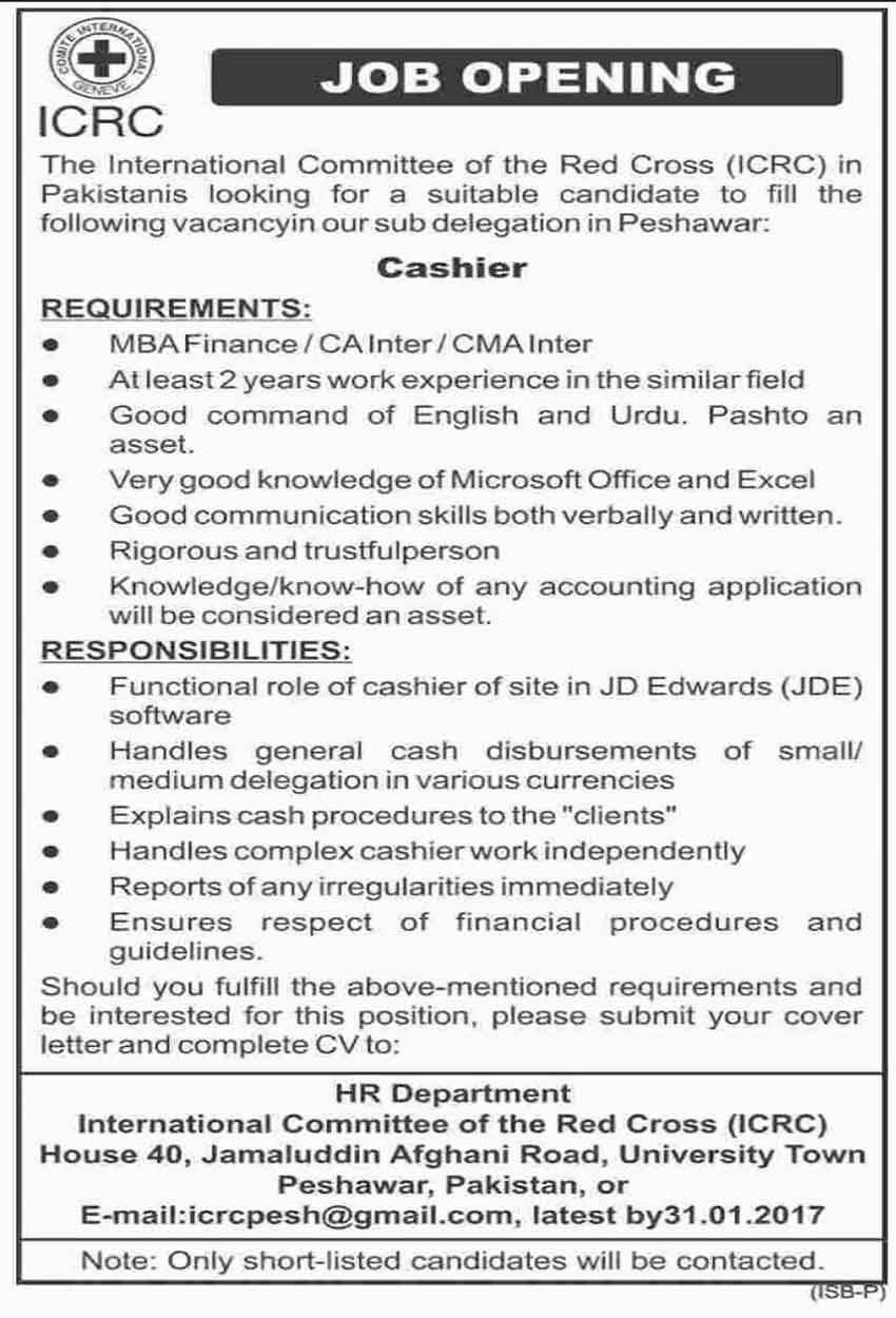 International Committee of the Red Cross cashier jobs