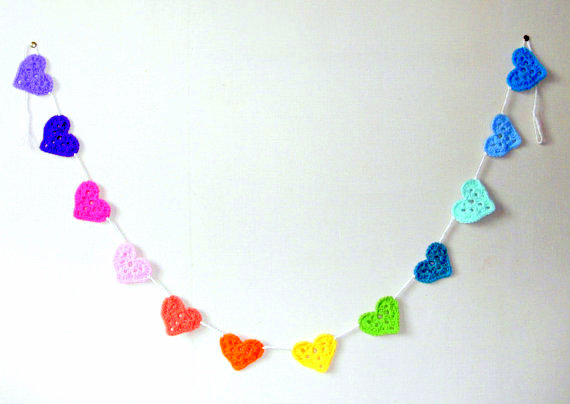 granny square heart garland crochet pattern