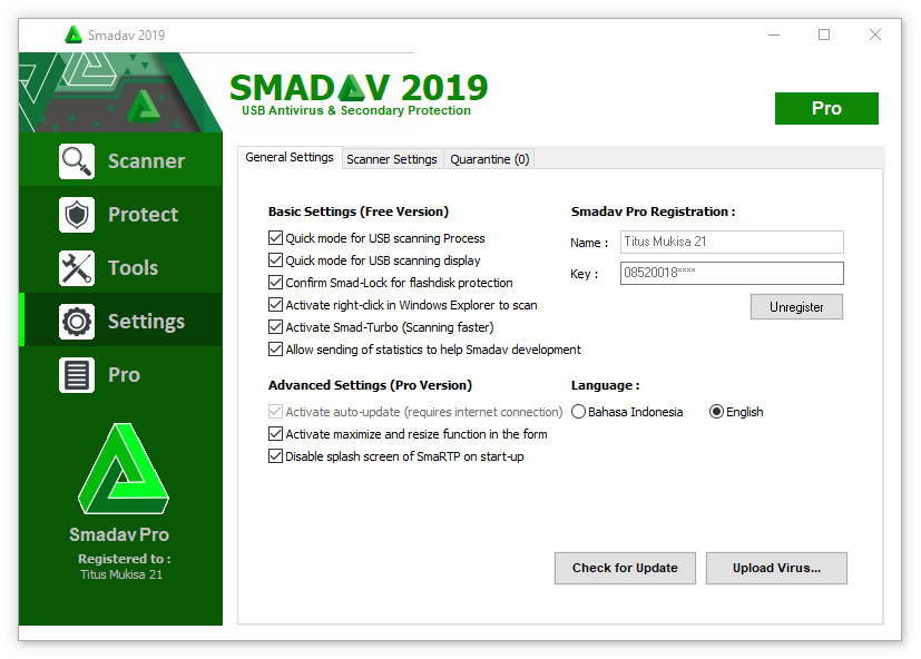 smadav pro 2017 registration name and key free