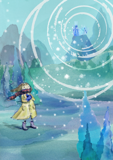 Snow Queen landscape and cold girl