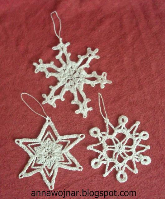 Szydełkowe śnieżynki i aniołki :)