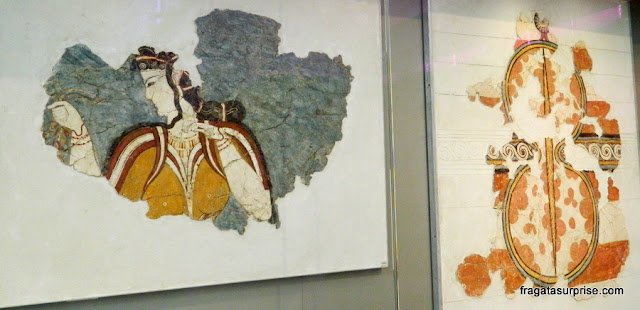 Afrescos de Acrotiri, no Museu Nacional de Arqueologia de Atenas, Grécia