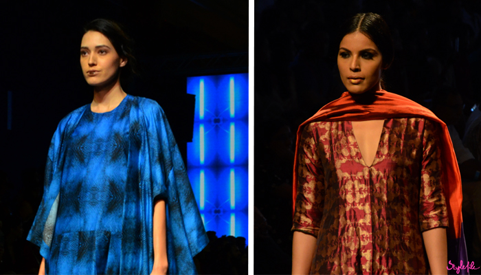Image of female models wearing bold lips as a beauty trend for Kallol Datta and Payal Khandwala on the runway at Lakme Fashion Week Winter Festive 2016