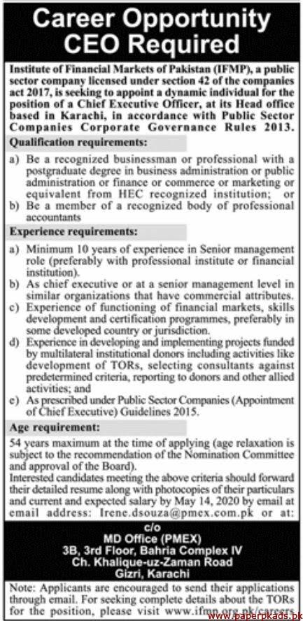 Institute of Financial Markets  of Pakistan Jobs 2020