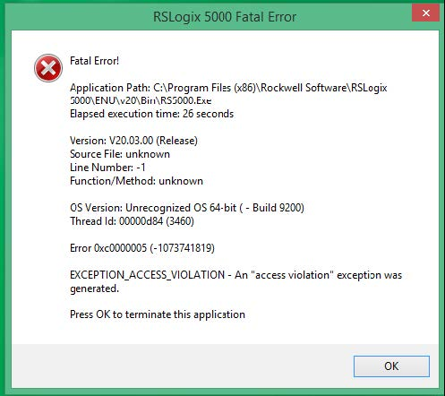 Studio 5000 / RSLogix 5000 : Fatal Error 0xc0000005 on Windows 8