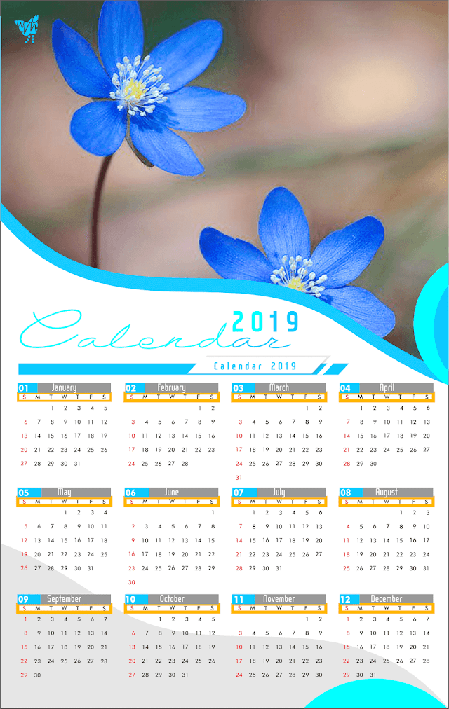 003 Calendar 2019 Printable Template Design AI Vector cdr